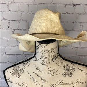 American Eagle straw floppy cowboy hat suede tie